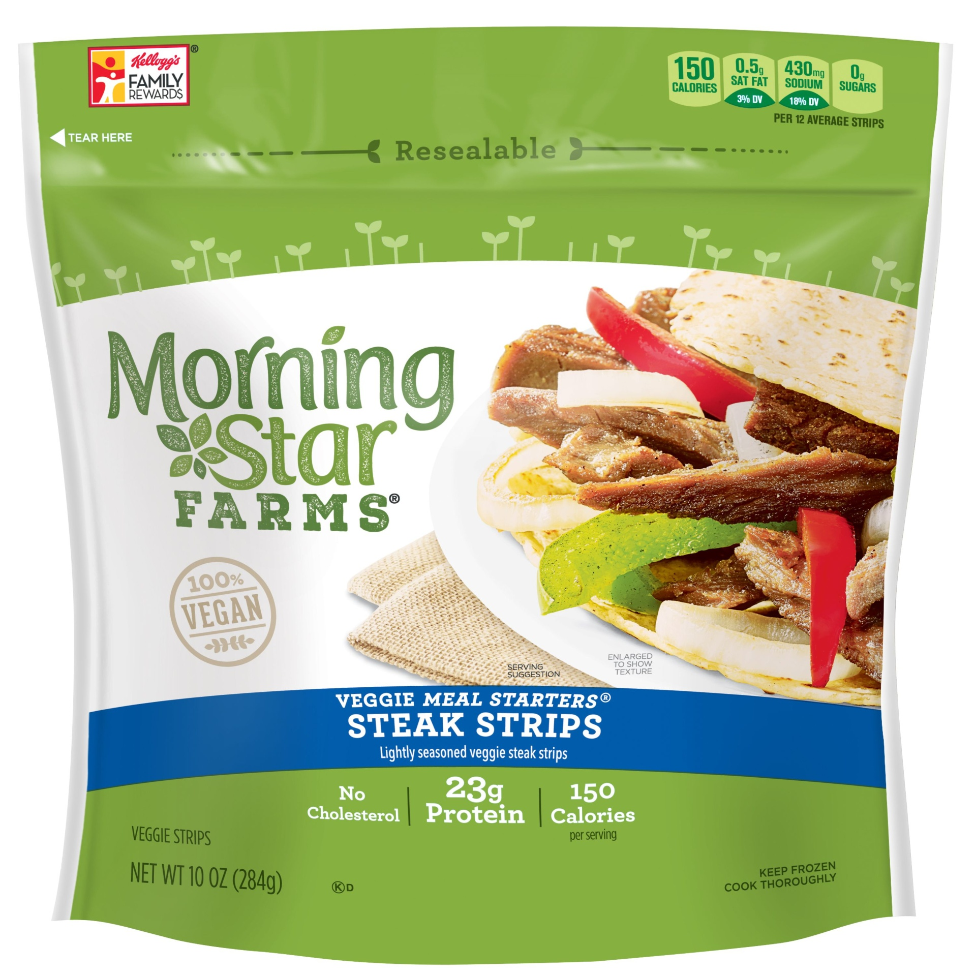 slide 1 of 7, MorningStar Farms Veggie Meal Starters Steak Strips,