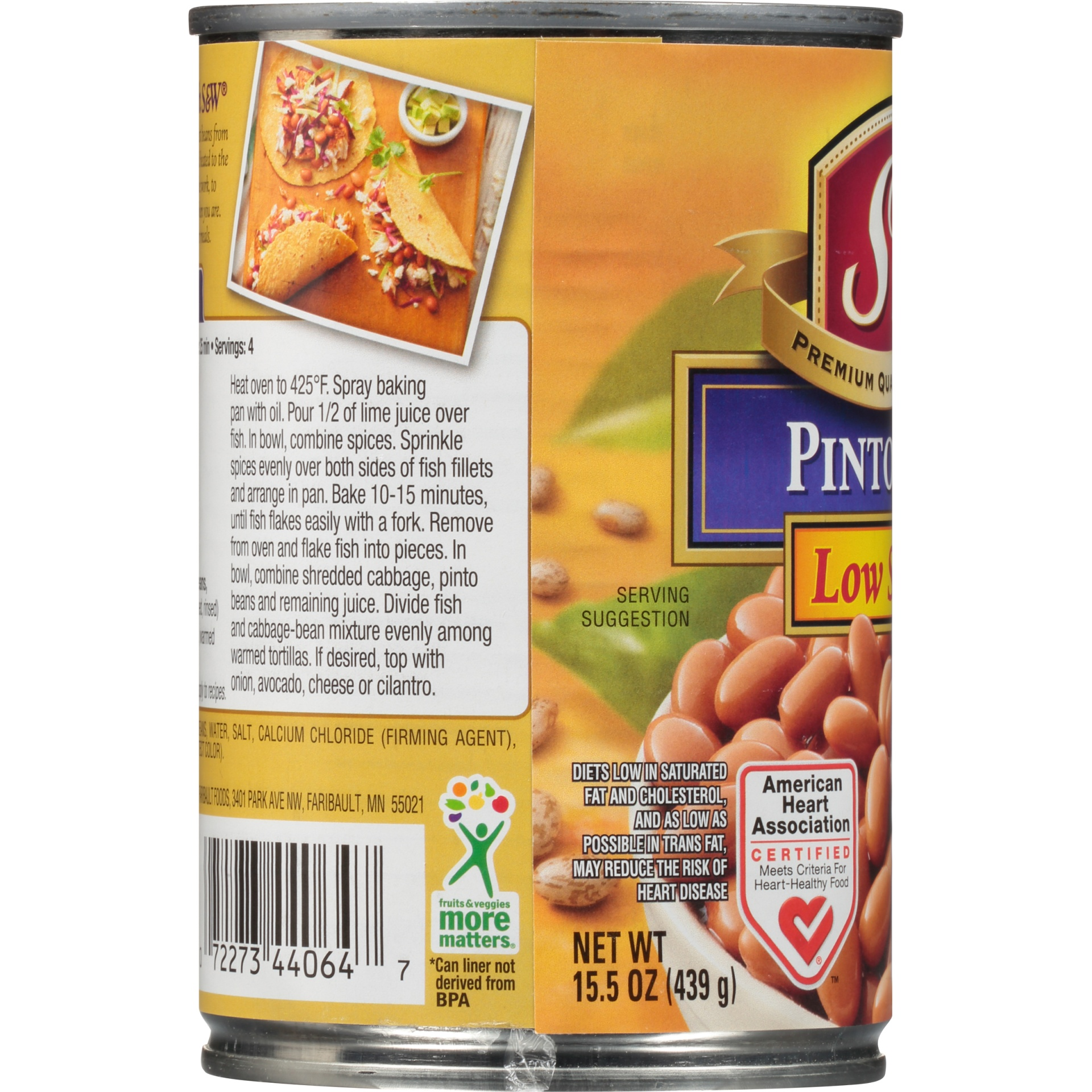 slide 4 of 8, S&W 50% Less Sodium Premium Pinto Beans,