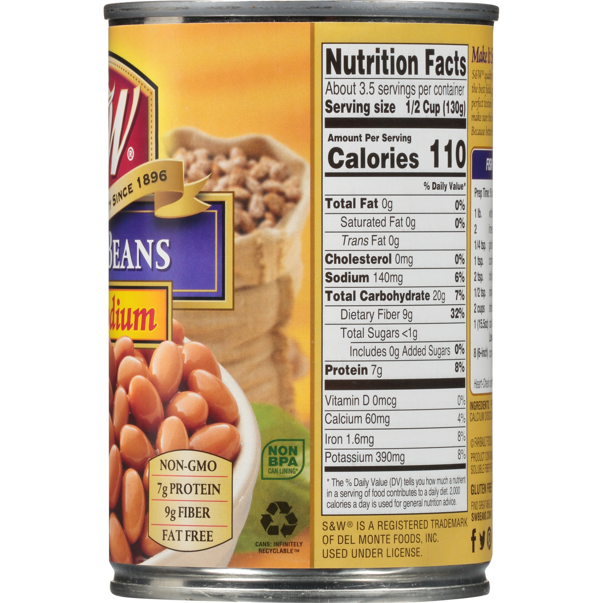 slide 5 of 8, S&W 50% Less Sodium Premium Pinto Beans,