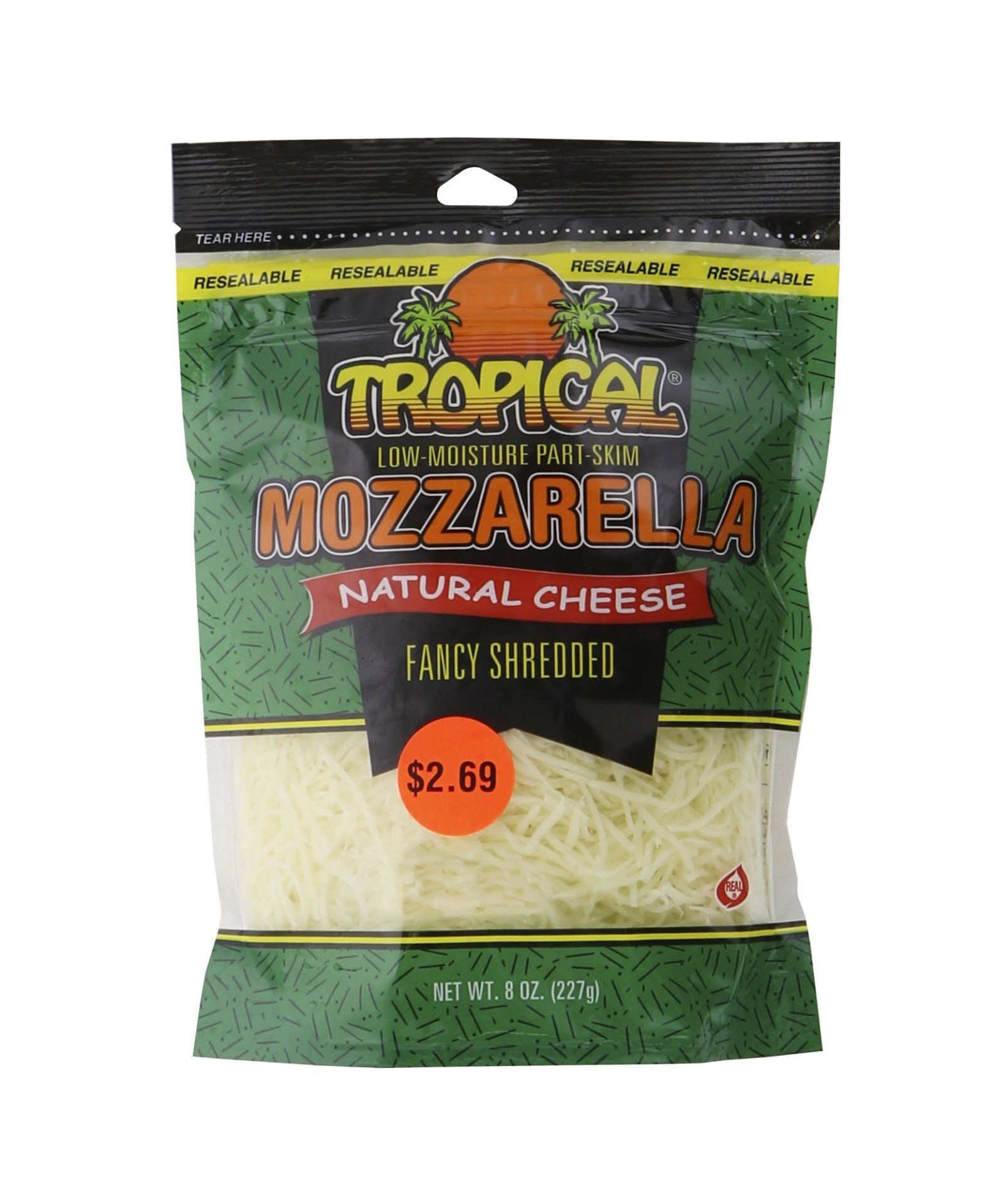 slide 1 of 1, Tropical Mozzarella Natural Cheese Fancy Shredded,