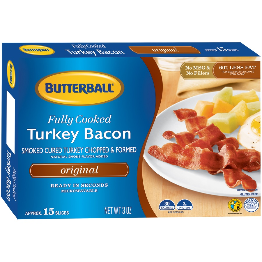 slide 2 of 8, Butterball Every Day Original Fully Cooked Turkey Bacon,