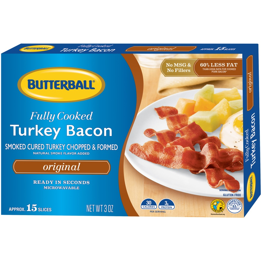 slide 3 of 8, Butterball Every Day Original Fully Cooked Turkey Bacon,