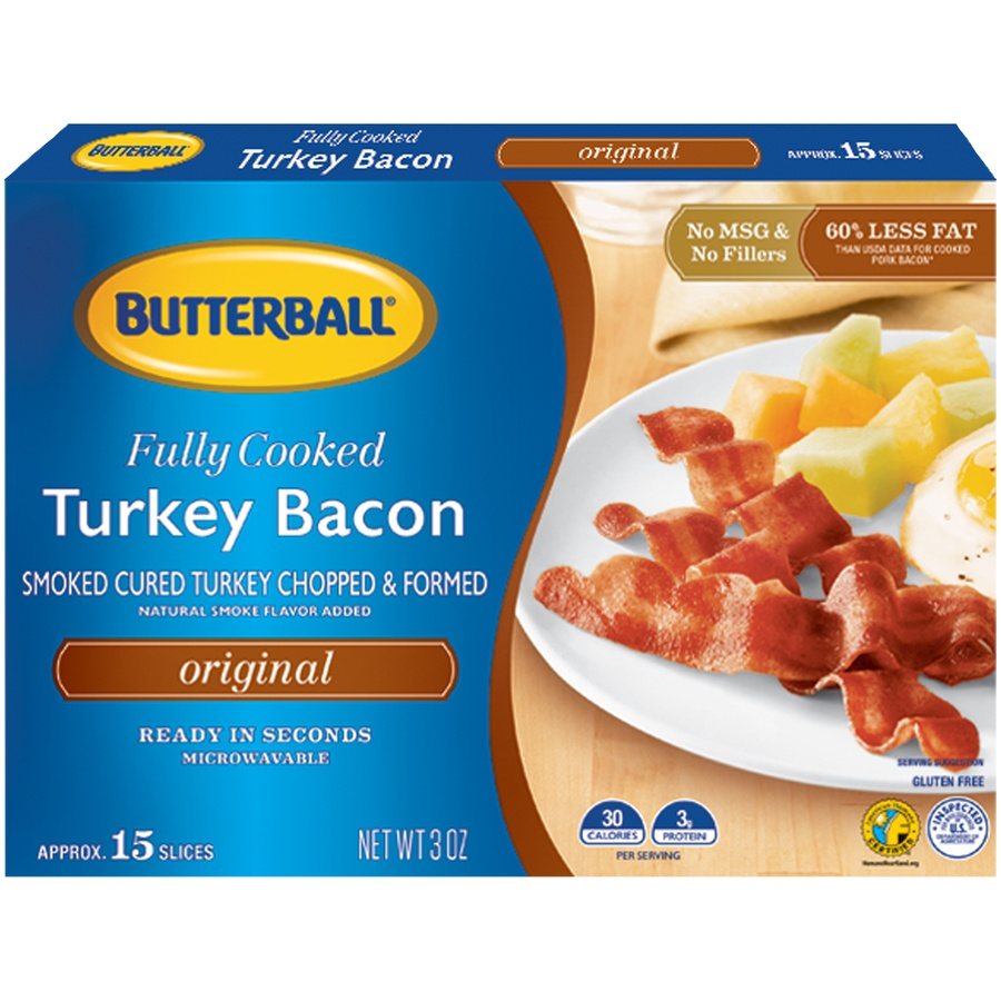 slide 1 of 8, Butterball Every Day Original Fully Cooked Turkey Bacon,