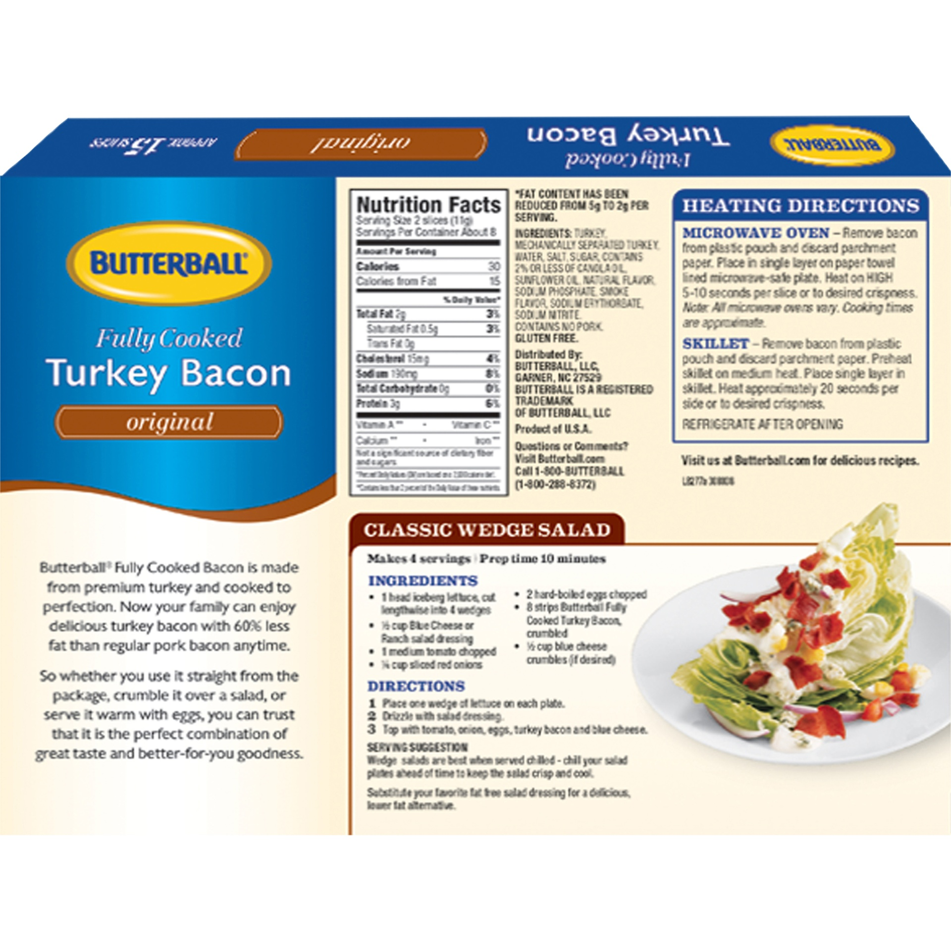 slide 6 of 8, Butterball Every Day Original Fully Cooked Turkey Bacon,