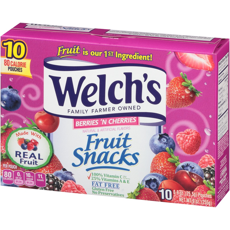 slide 3 of 8, Welch's Berries 'N Cherries Fruit Snacks,