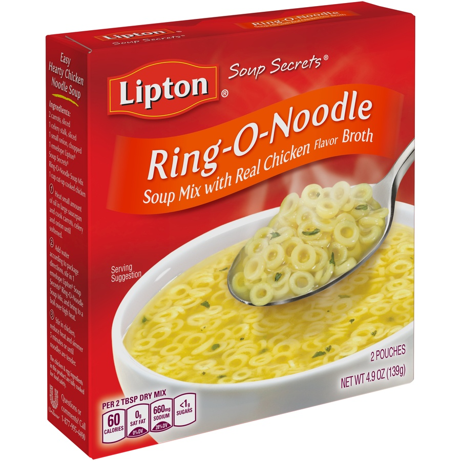 slide 3 of 6, Lipton Soup Secrets Ring onoodle with Real Chicken Broth Mix,