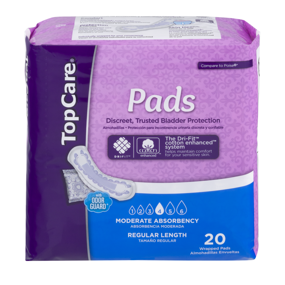 slide 1 of 1, TopCare Pads Regular Length Moderate Absorbency,
