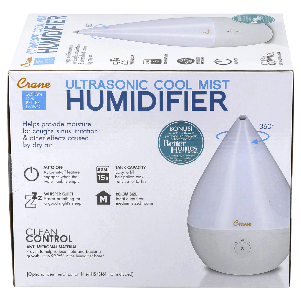 slide 3 of 4, Crane Droplet Ultrasonic Cool Mist Humidifier - White,