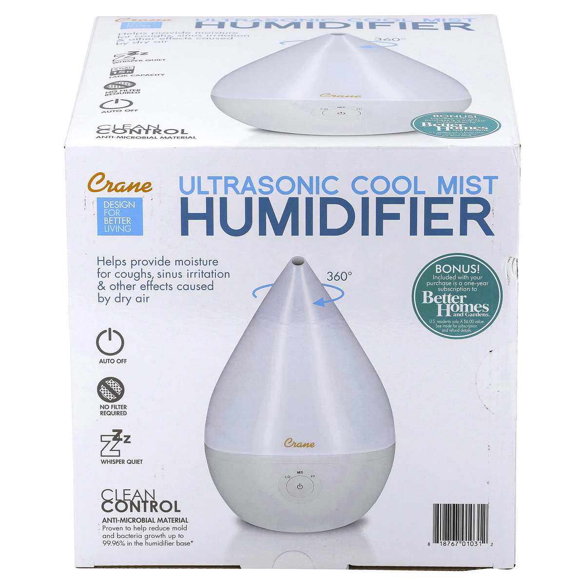 slide 4 of 4, Crane Droplet Ultrasonic Cool Mist Humidifier - White,