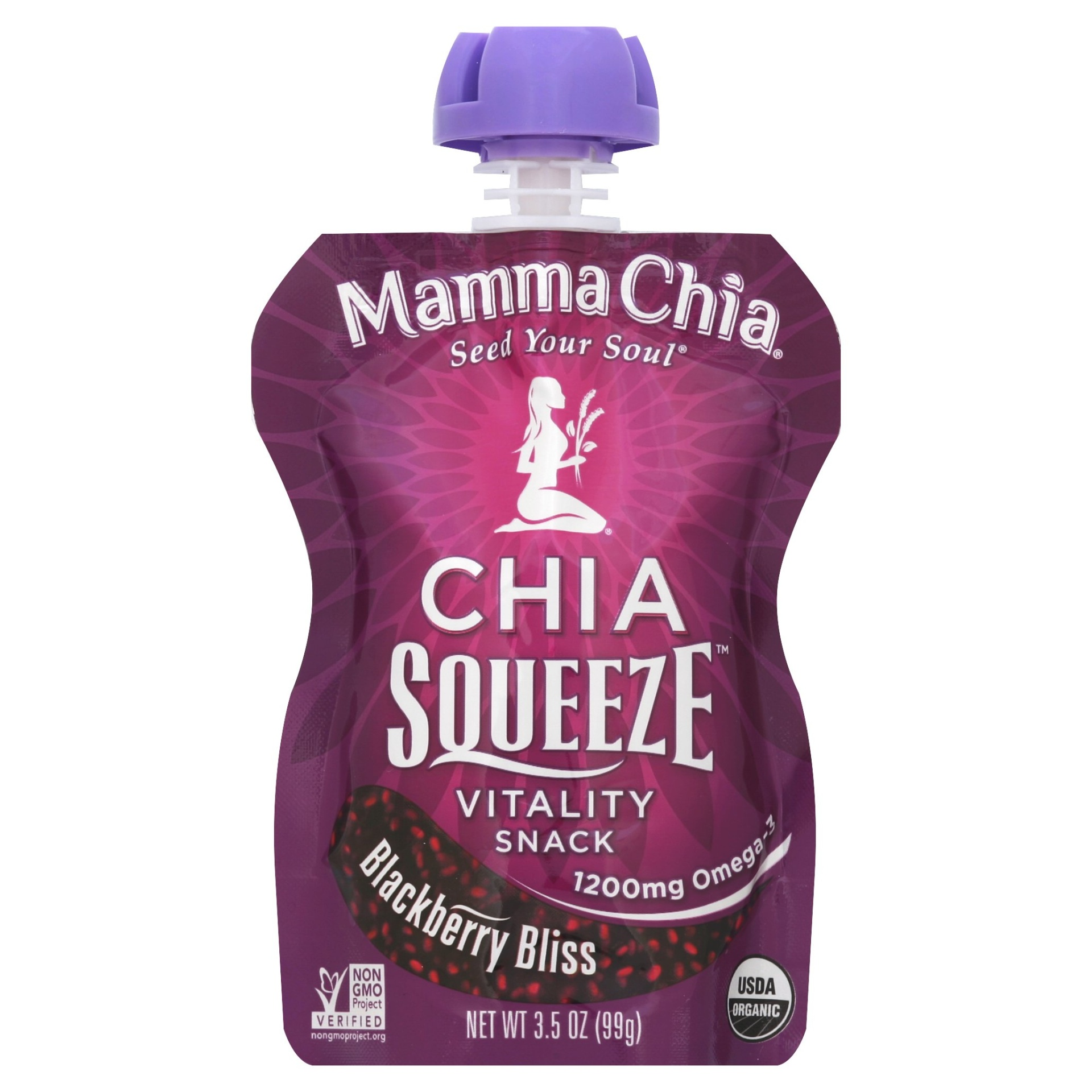 slide 1 of 18, Mamma Chia Chia Squeeze Vitality Snack Blackberry Bliss,