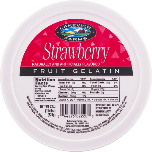 slide 8 of 9, Lakeview Farms Strawberry Fruit Gelatin,