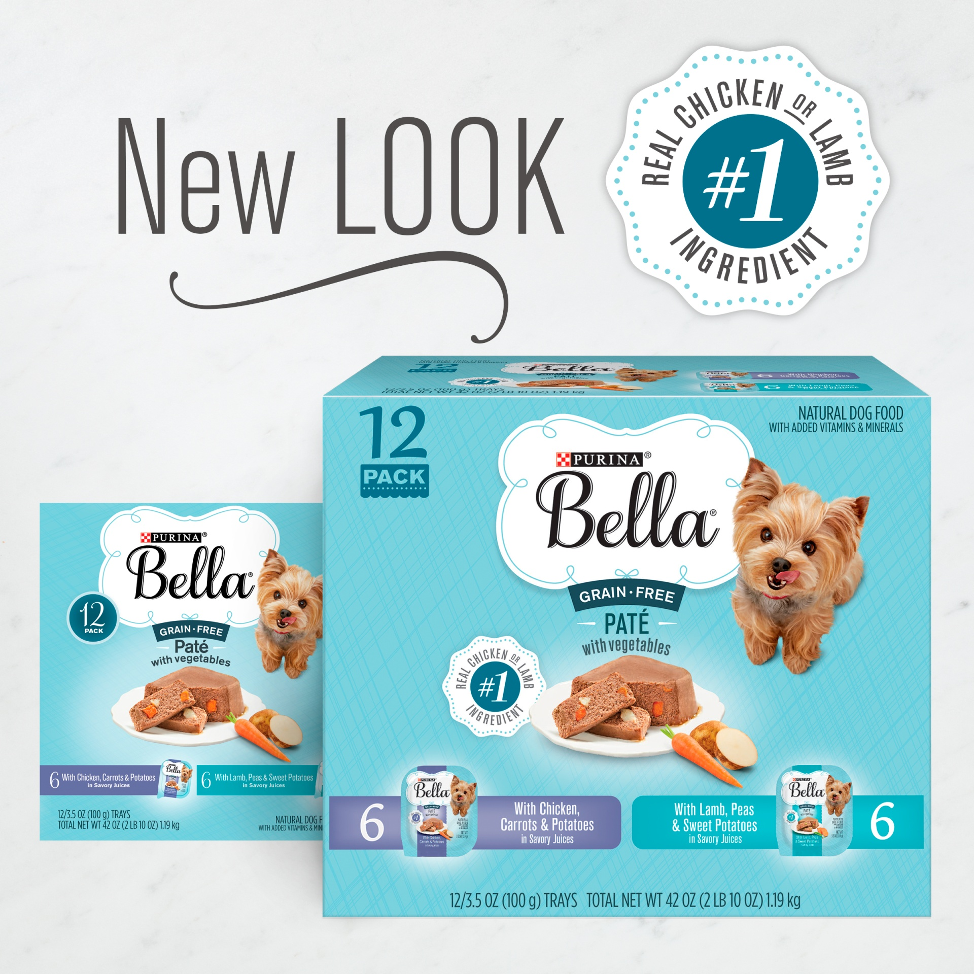 slide 2 of 12, Purina Bella Grain Free Pate With Chicken & Lamb Adult Wet Dog Food Variety Pack, (12) Trays,