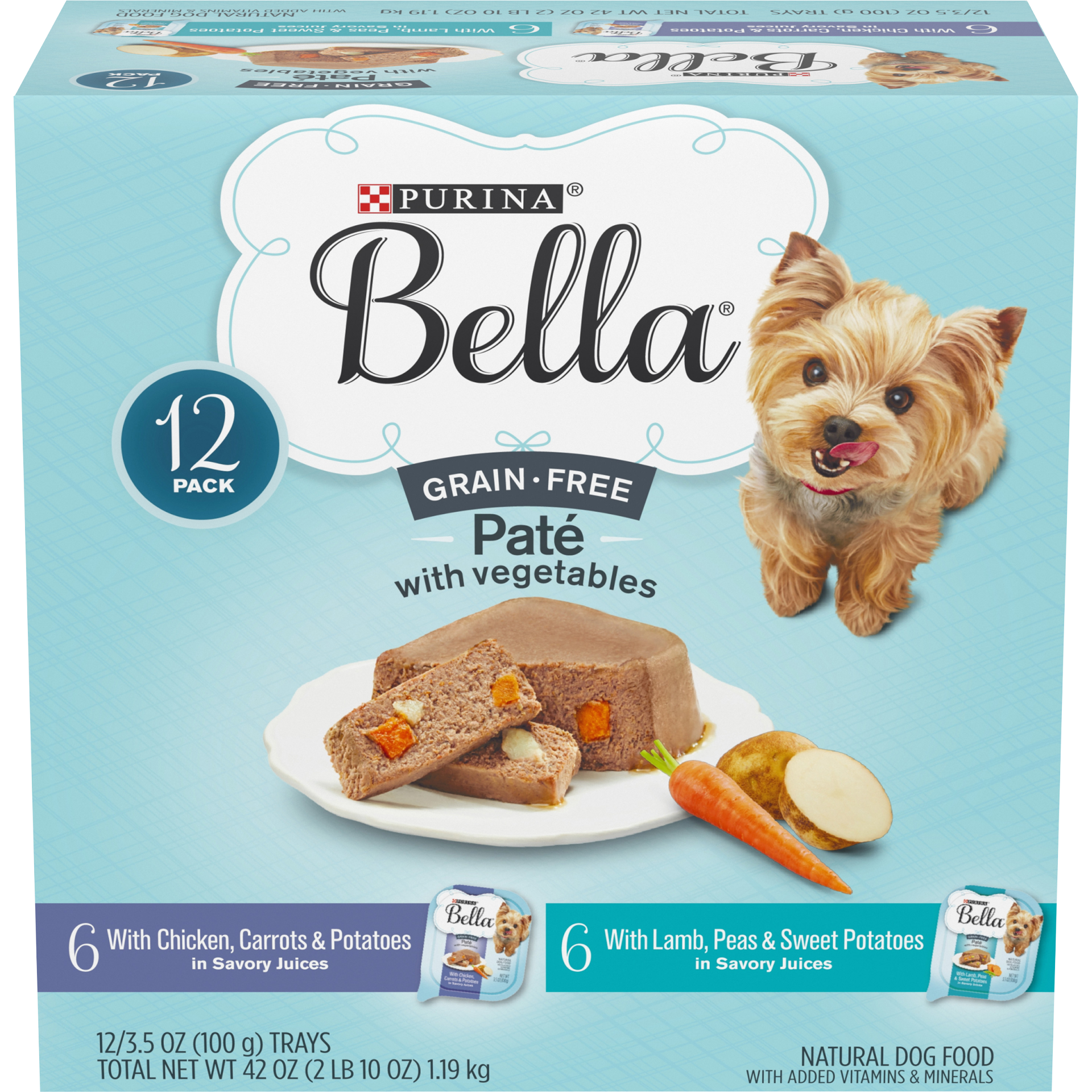 slide 1 of 12, Purina Bella Grain Free Pate With Chicken & Lamb Adult Wet Dog Food Variety Pack, (12) Trays,