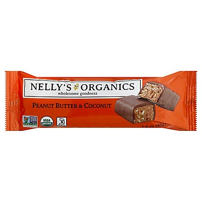slide 1 of 1, Nelly's Organics Peanut Butter & Coconut Candy Bar,