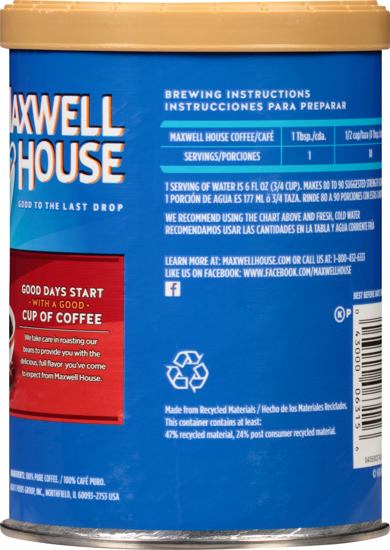slide 2 of 3, Maxwell House Smooth Bold Coffee 11.5 oz Canister,