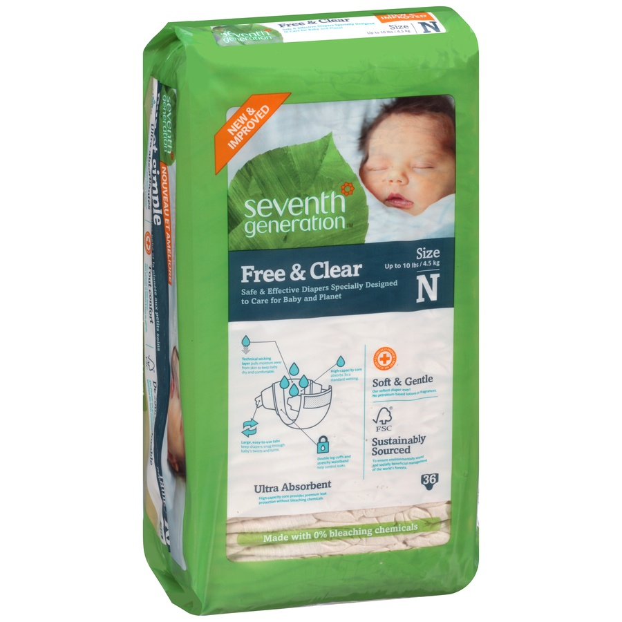 slide 2 of 6, Seventh Generation Free & Clear Diapers Newborn,