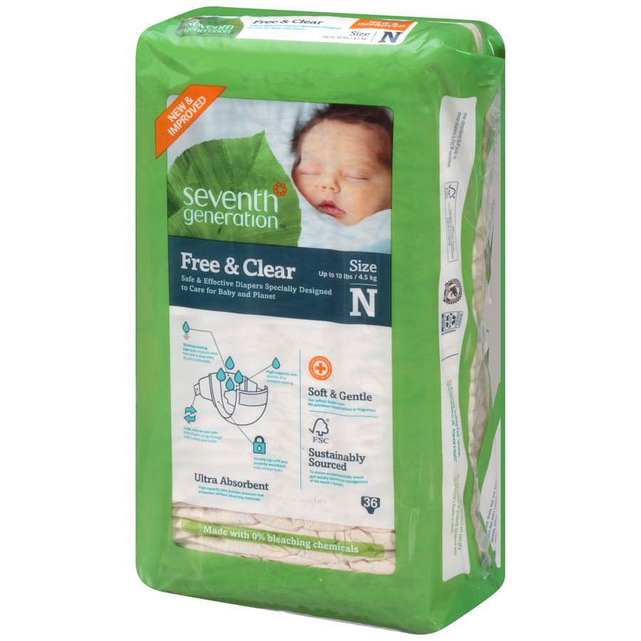 slide 3 of 6, Seventh Generation Free & Clear Diapers Newborn,