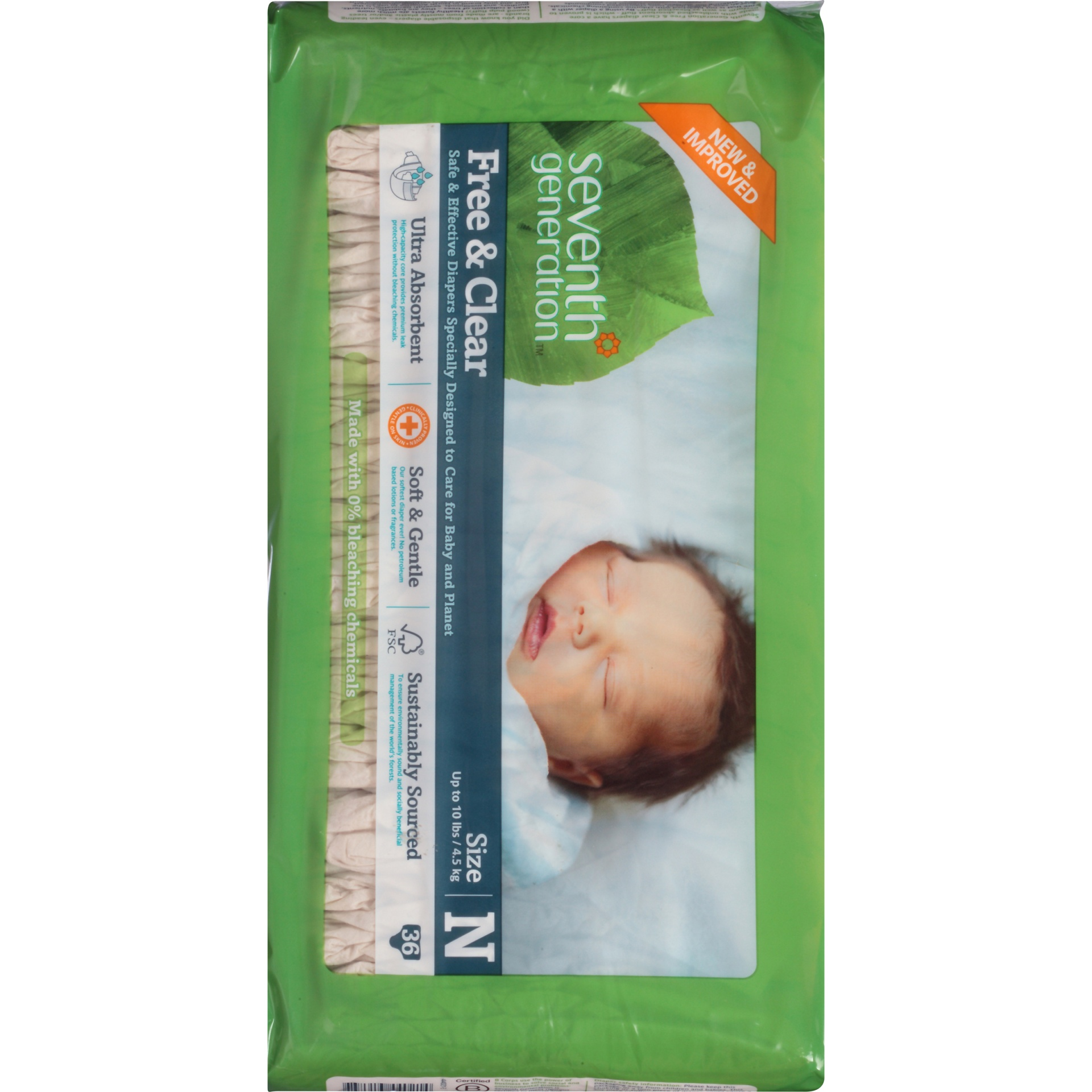 slide 6 of 6, Seventh Generation Free & Clear Diapers Newborn,