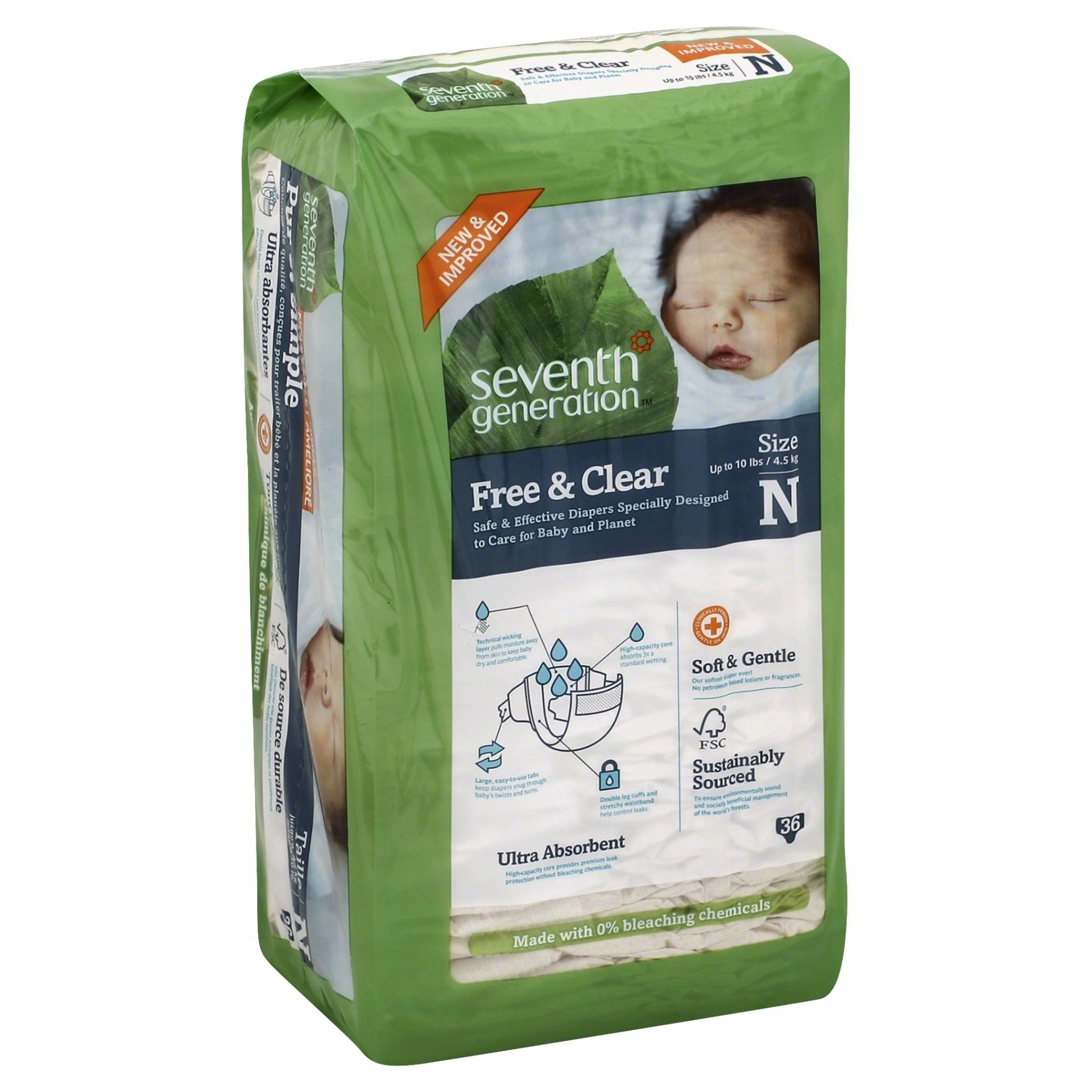 slide 1 of 6, Seventh Generation Free & Clear Diapers Newborn,