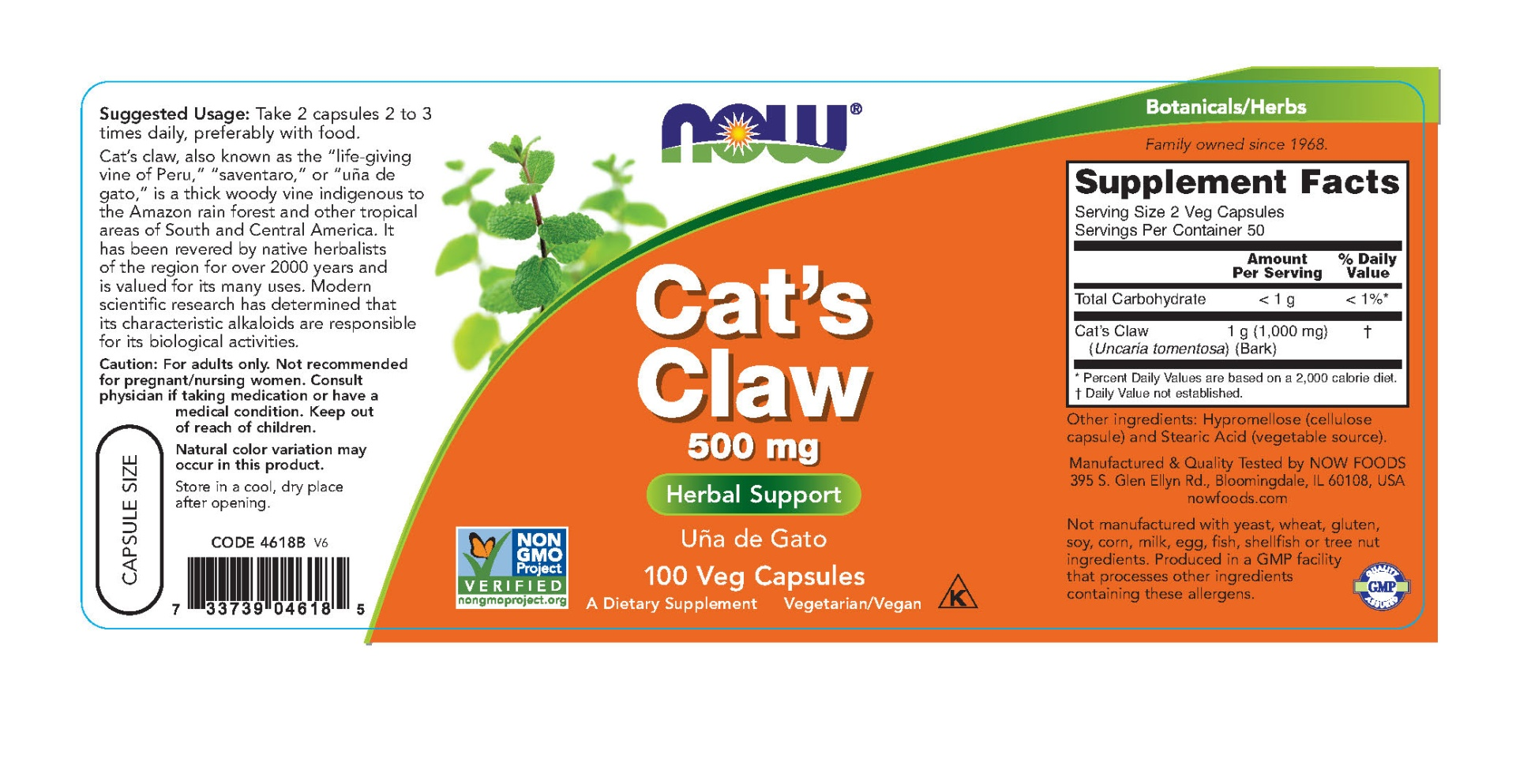 slide 2 of 2, NOW Cats Claw 500 mg Capsules,