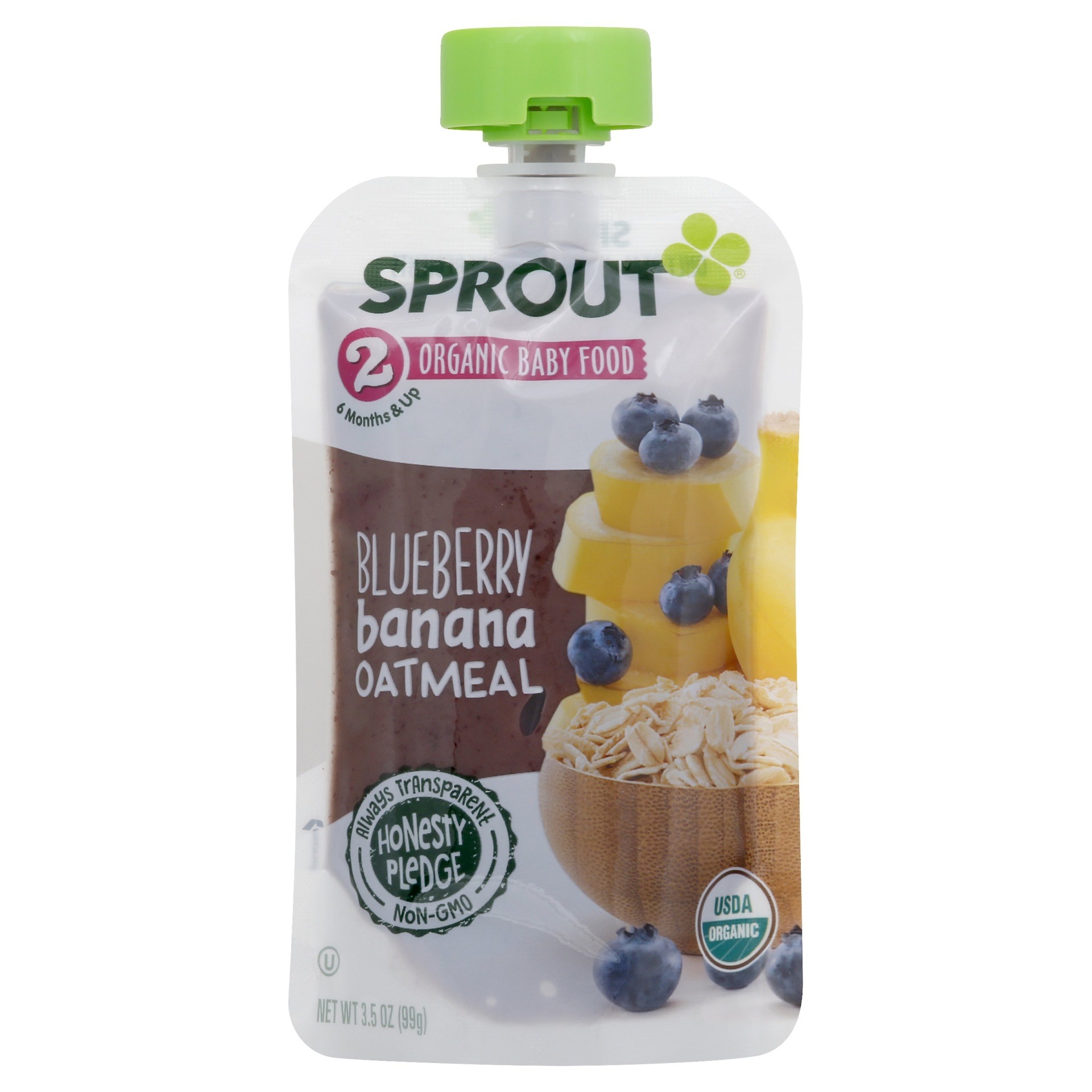 slide 1 of 2, Sprout Organic Blueberry Banana Oatmeal Baby Food Pouch,