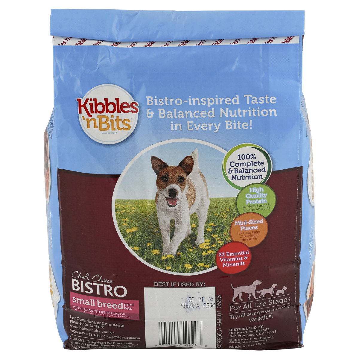 slide 4 of 4, Kibbles 'n Bits Dog Food Chef's Choice Bistro Small Breed Mini Bits Oven Roasted Beef,