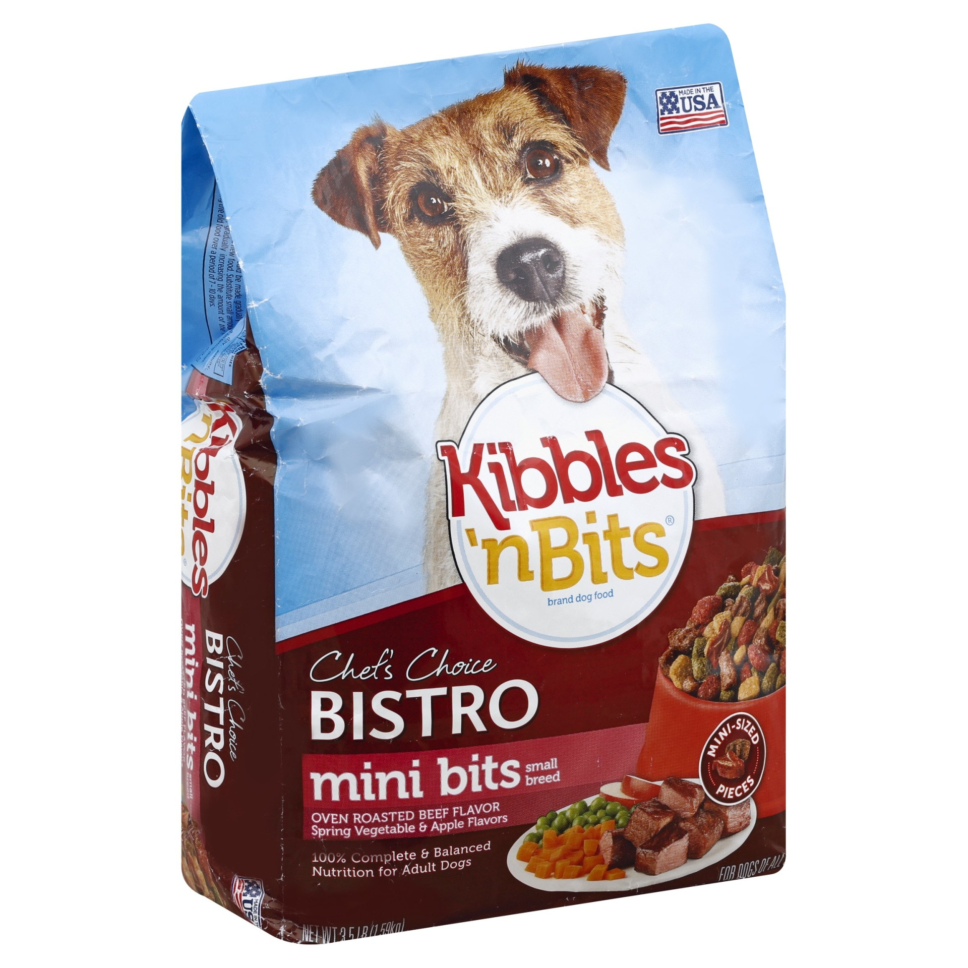 slide 1 of 4, Kibbles 'n Bits Dog Food Chef's Choice Bistro Small Breed Mini Bits Oven Roasted Beef,