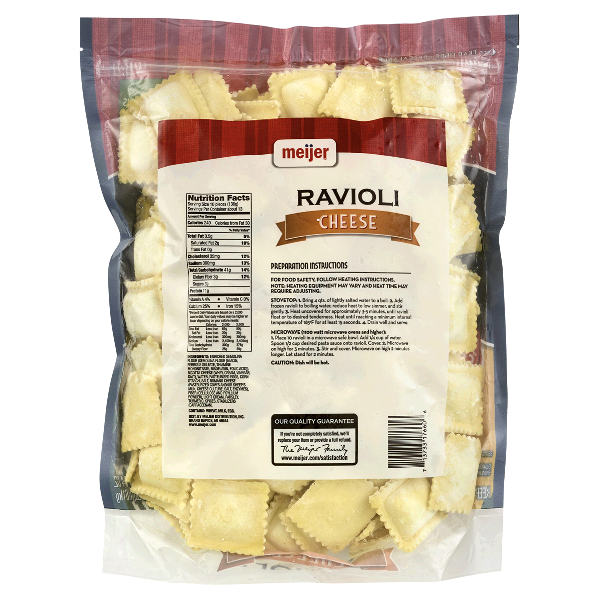 slide 2 of 2, Meijer Cheese Ravioli,