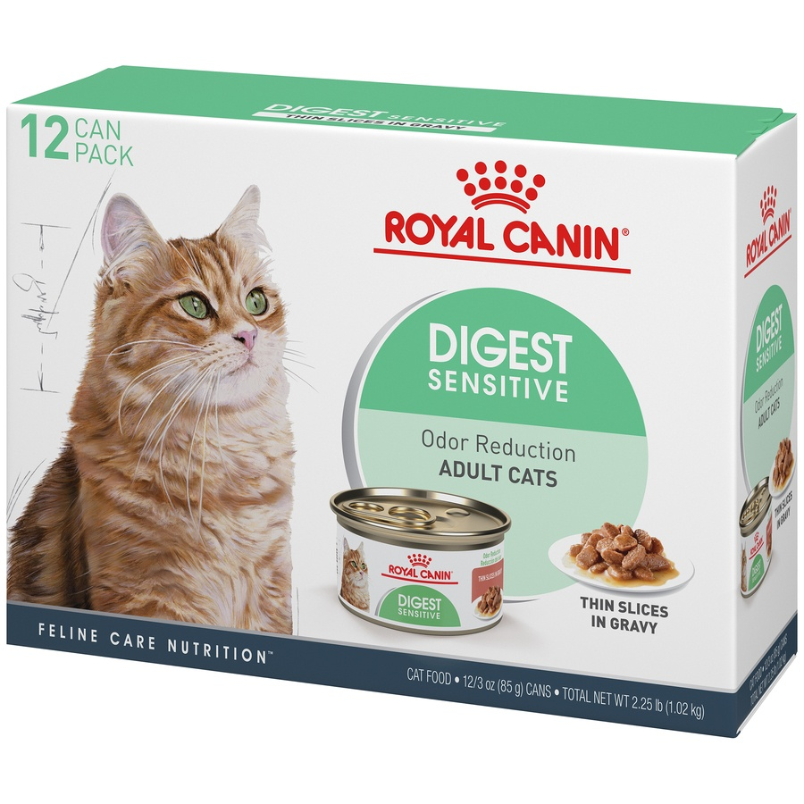 slide 3 of 9, Royal Canin Feline Care Nutrition Digest Sensitive Thin Slices In Gravy Canned Wet Cat Food,
