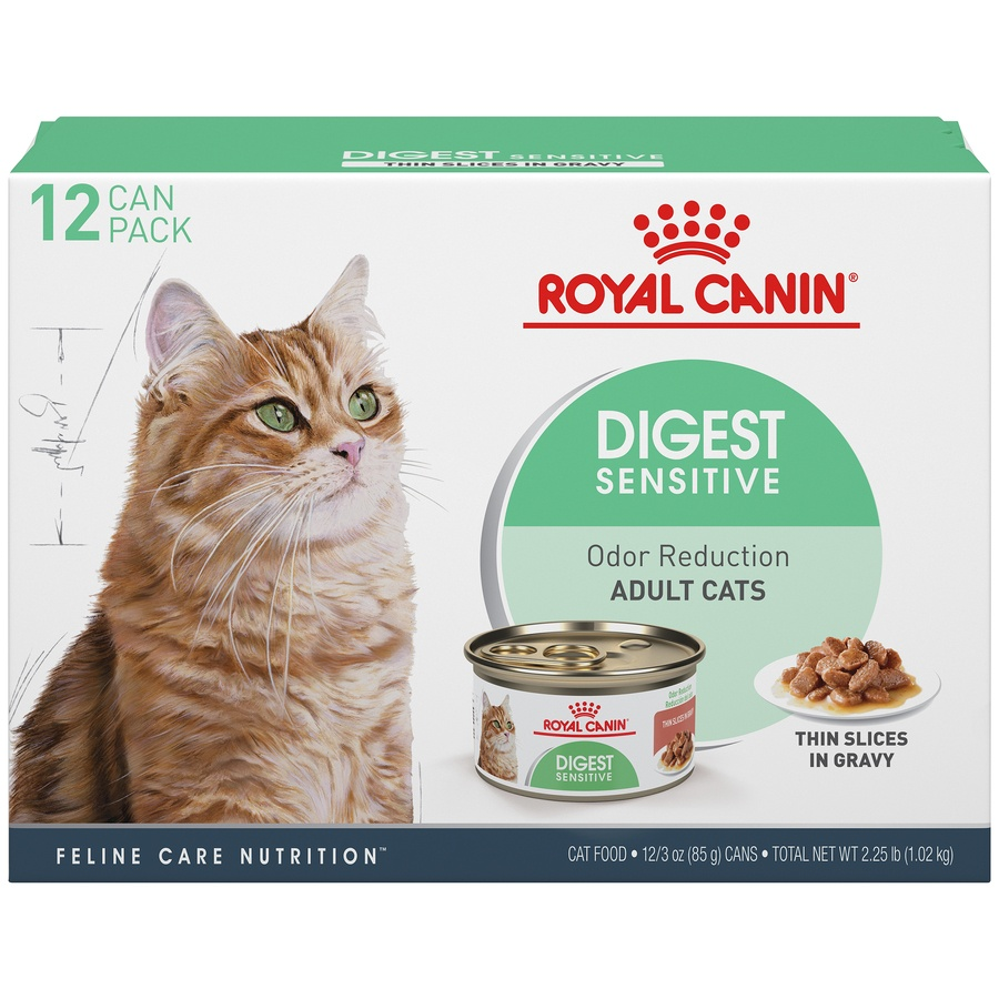 slide 1 of 9, Royal Canin Feline Care Nutrition Digest Sensitive Thin Slices In Gravy Canned Wet Cat Food,