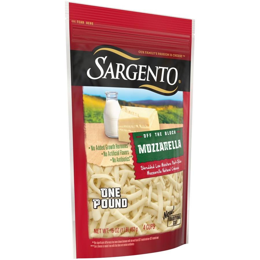 slide 2 of 8, Sargento Off The Block Shredded Mozzarella Cheese,