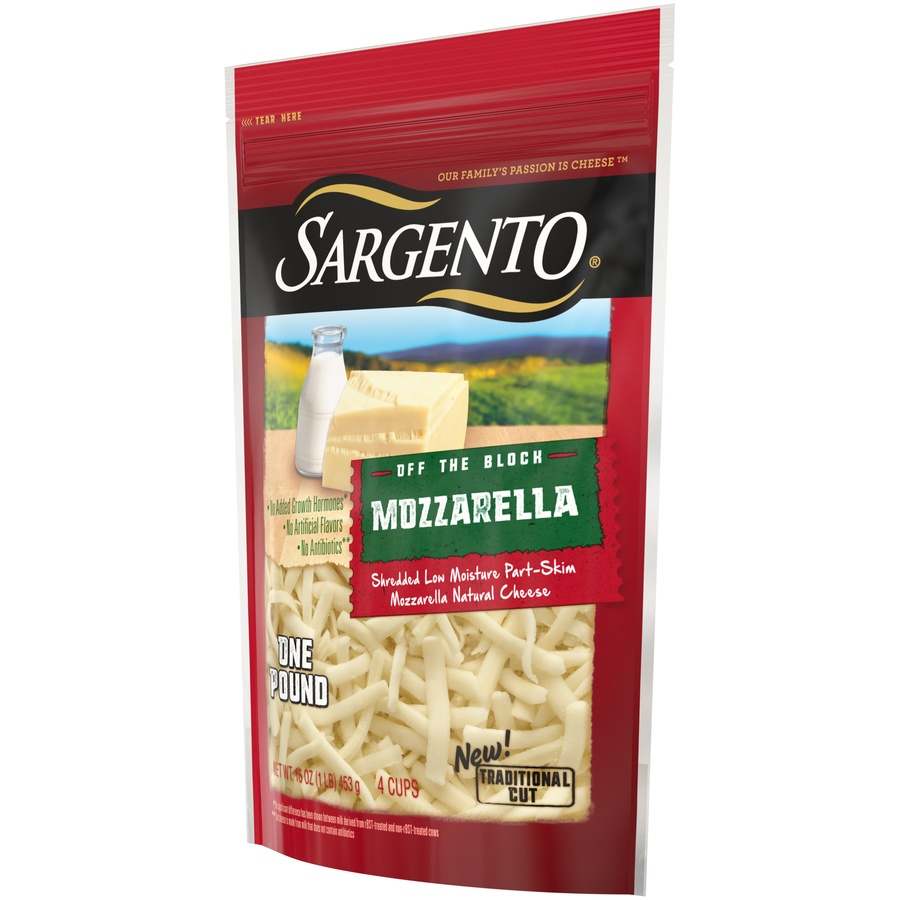 slide 3 of 8, Sargento Off The Block Shredded Mozzarella Cheese,