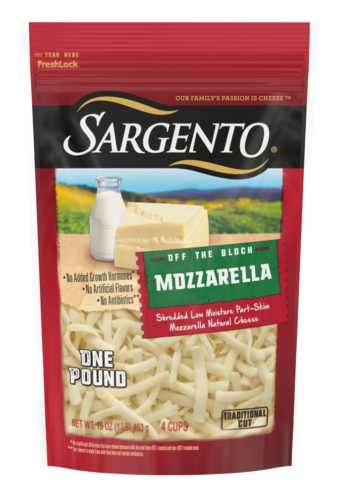 slide 1 of 8, Sargento Off The Block Shredded Mozzarella Cheese,