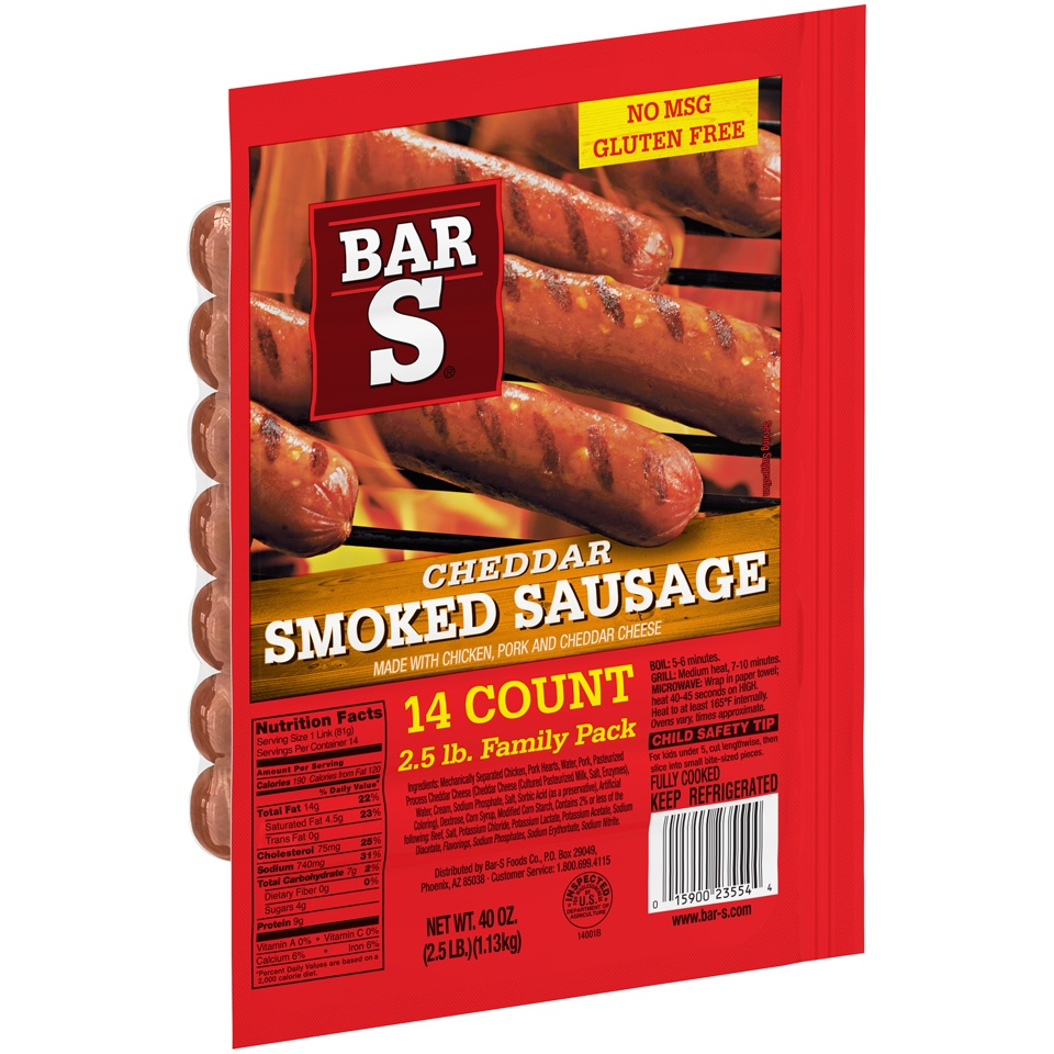 slide 2 of 7, Bar-S Cheese Skinless Smoked Sausage Links,