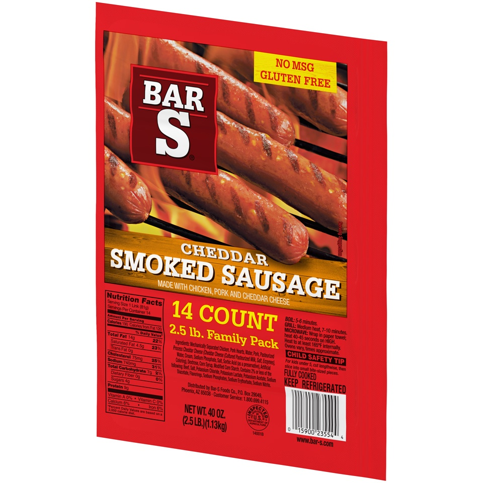 slide 3 of 7, Bar-S Cheese Skinless Smoked Sausage Links,