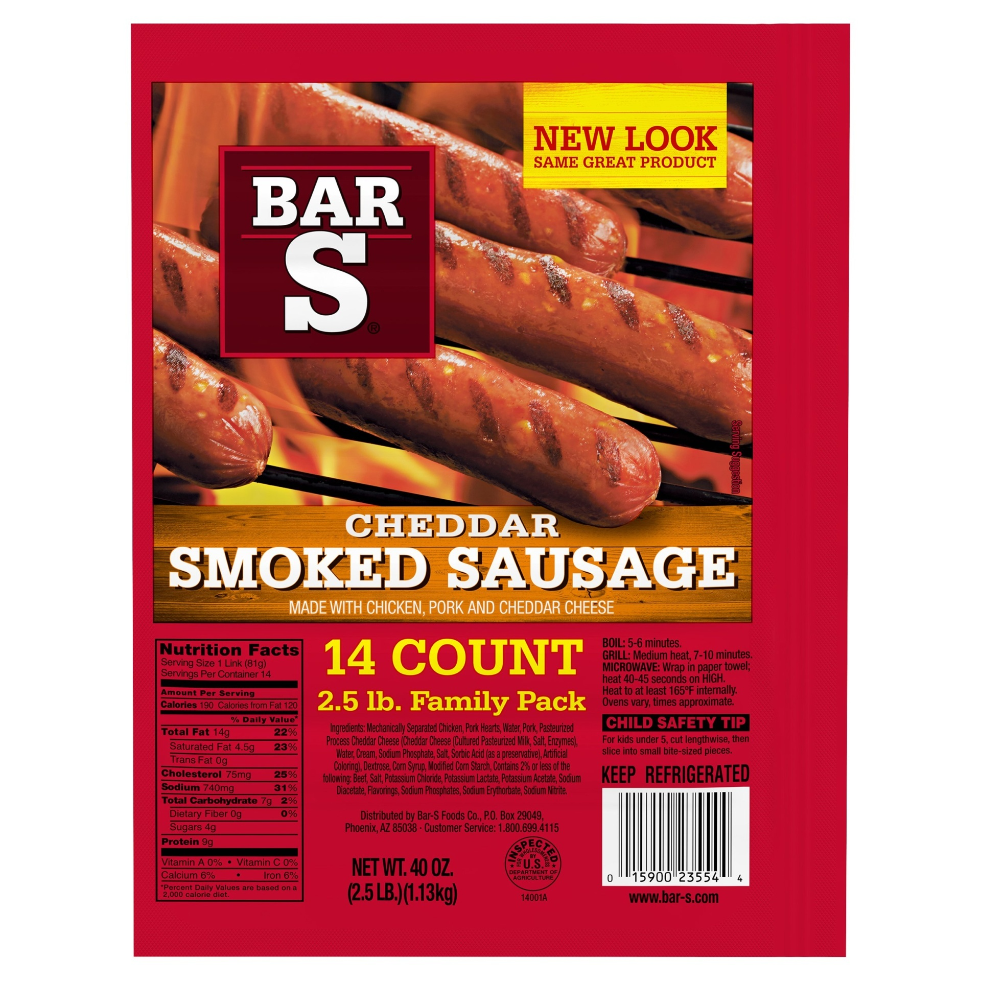 slide 1 of 7, Bar-S Cheese Skinless Smoked Sausage Links,