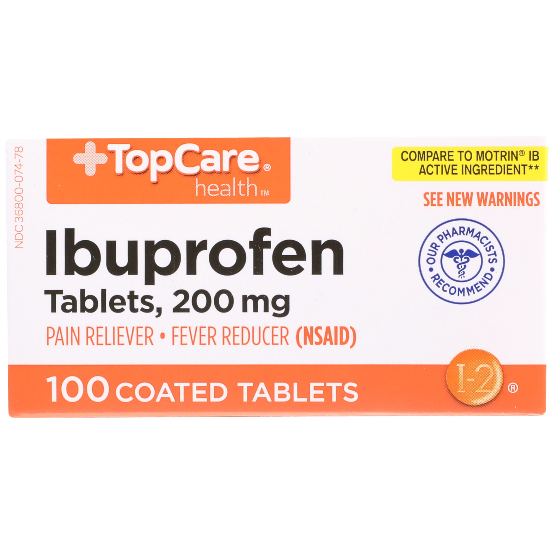 slide 1 of 6, Topcare 200mg Ibuprofen Coated Tablets ,