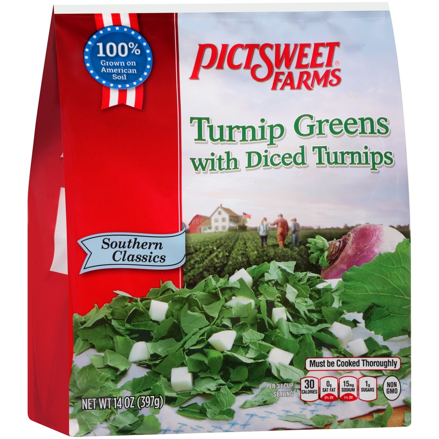 slide 2 of 8, PictSweet Southern Classics Turnip Greens with Diced Turnips,