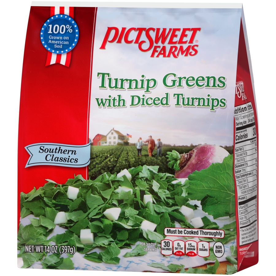 slide 3 of 8, PictSweet Southern Classics Turnip Greens with Diced Turnips,