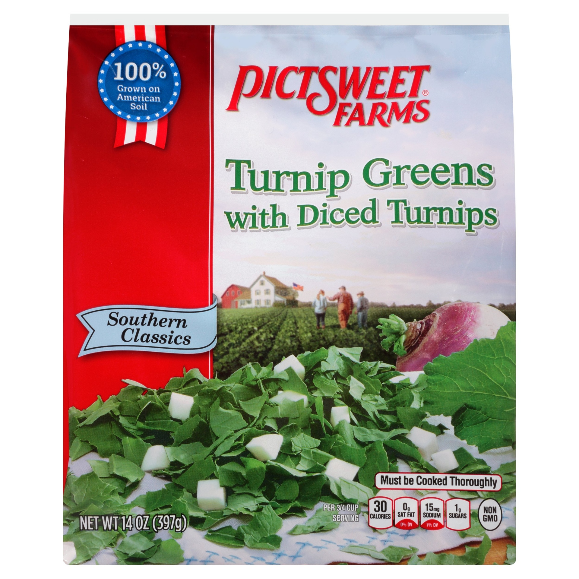 slide 1 of 8, PictSweet Southern Classics Turnip Greens with Diced Turnips,