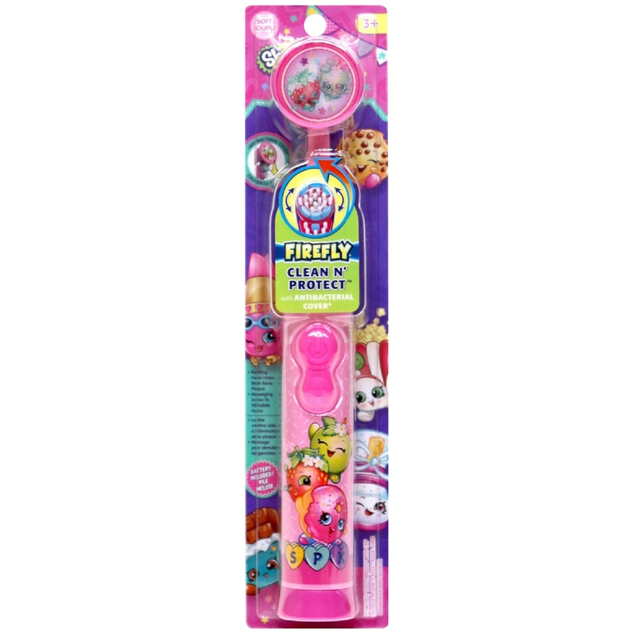 slide 1 of 2, Firefly Clean N' Protect Shopkins Soft Powered Toothbrush,