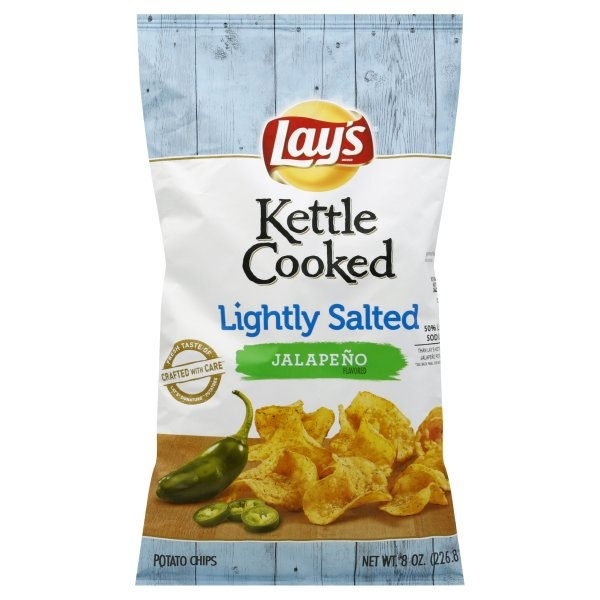 slide 1 of 4, Lay's Kettle Cooked Lightly Salted Jalapeno Potato Chips,
