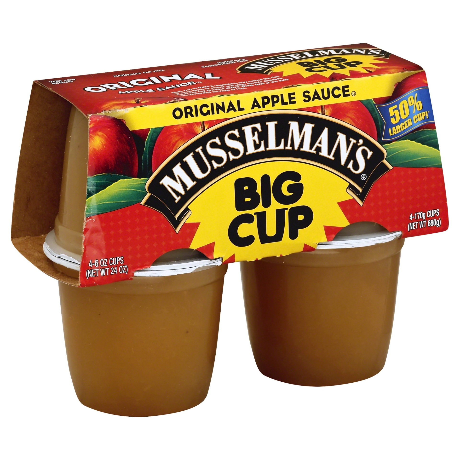 slide 1 of 8, Musselman's Big Cup Original Apple Sauce,