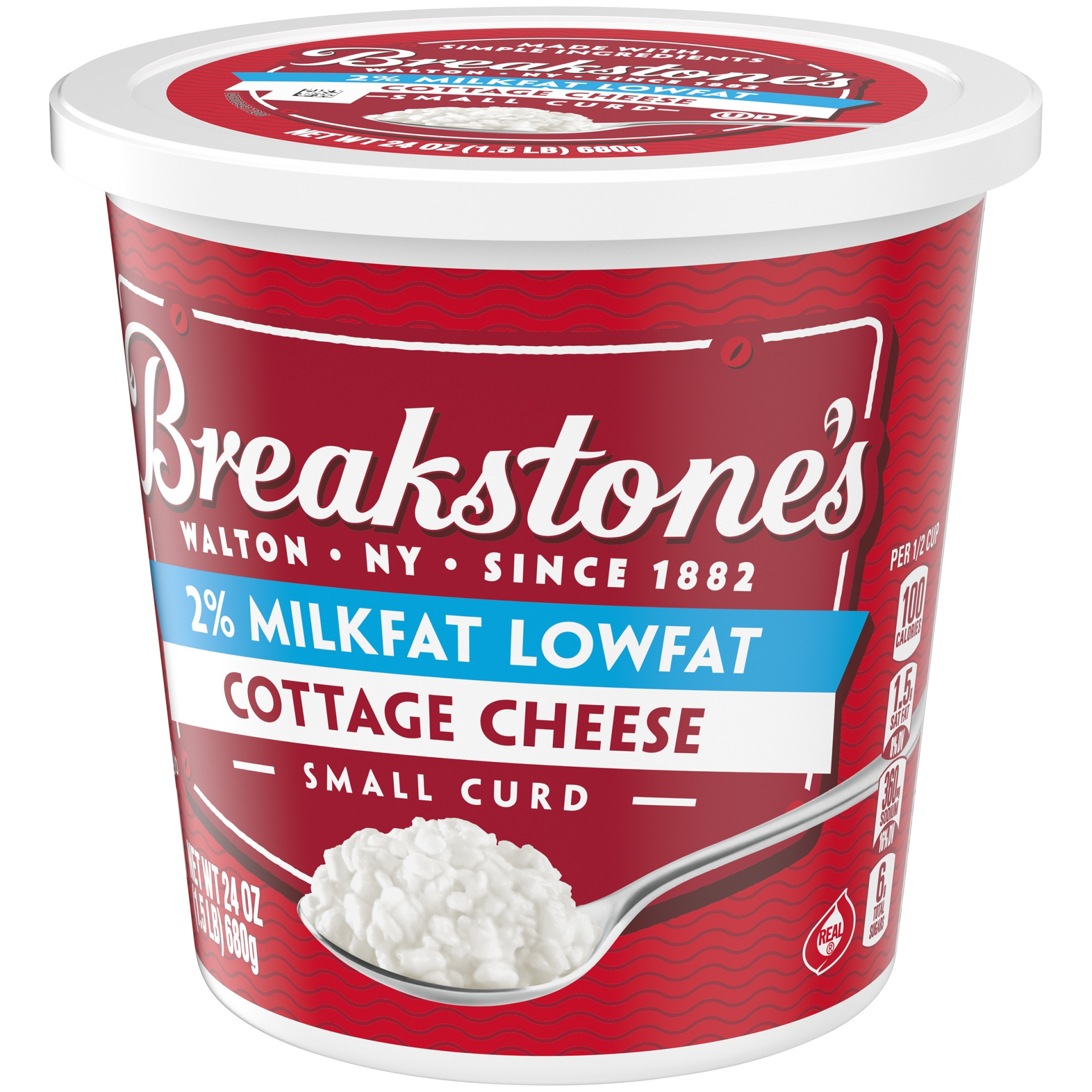 slide 3 of 6, Breakstone's Small Curd 2% Milkfat Cottage Cheese,