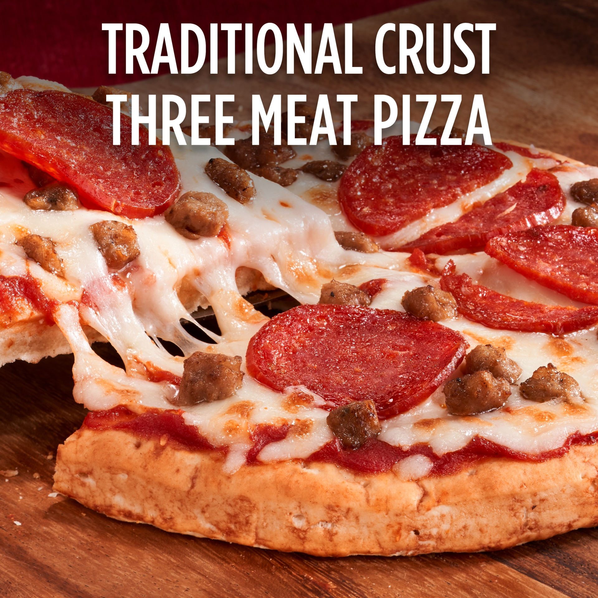 slide 3 of 13, DiGiorno Three Meat Traditional Crust Pizza,