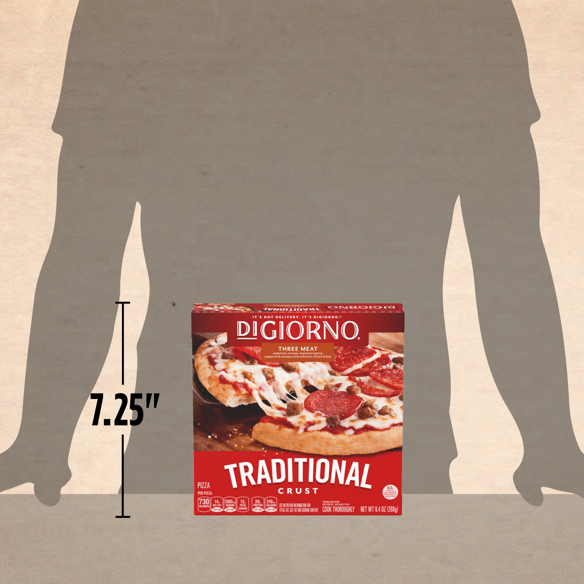 slide 4 of 13, DiGiorno Three Meat Traditional Crust Pizza,