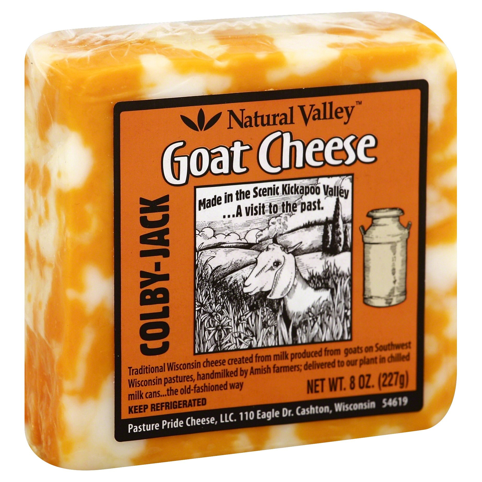 slide 1 of 2, Natural Valley Colby-Jack Goat Cheese,