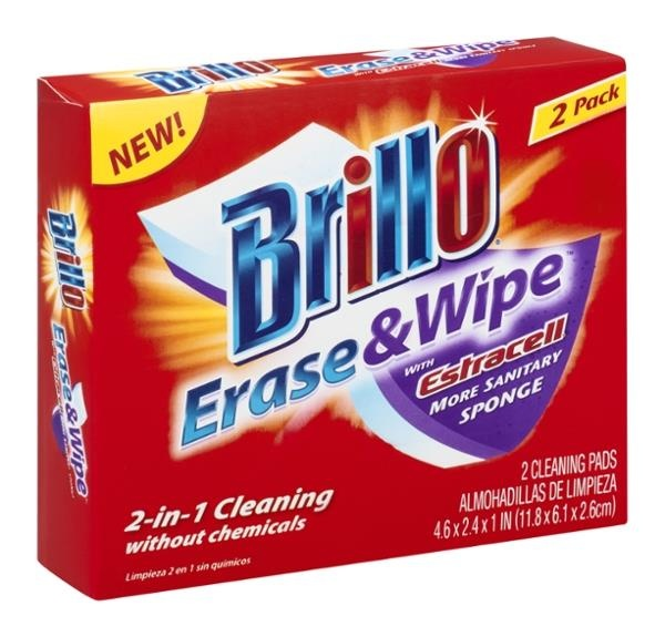 slide 1 of 1, Brillo Erase & Wipe Sponge,