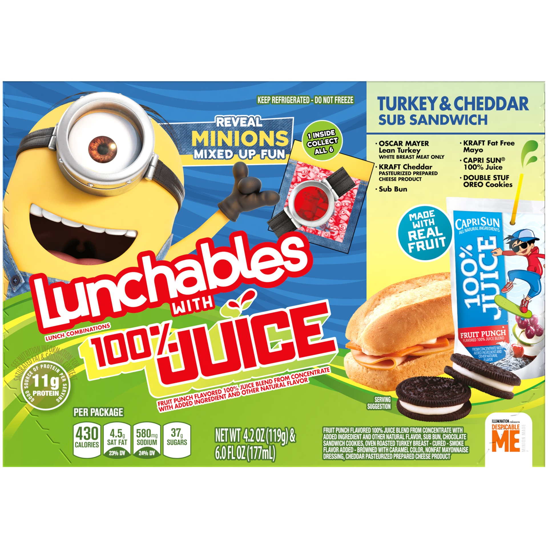 slide 2 of 8, Lunchables 100% Juice Turkey & Cheddar Sub Sandwich,