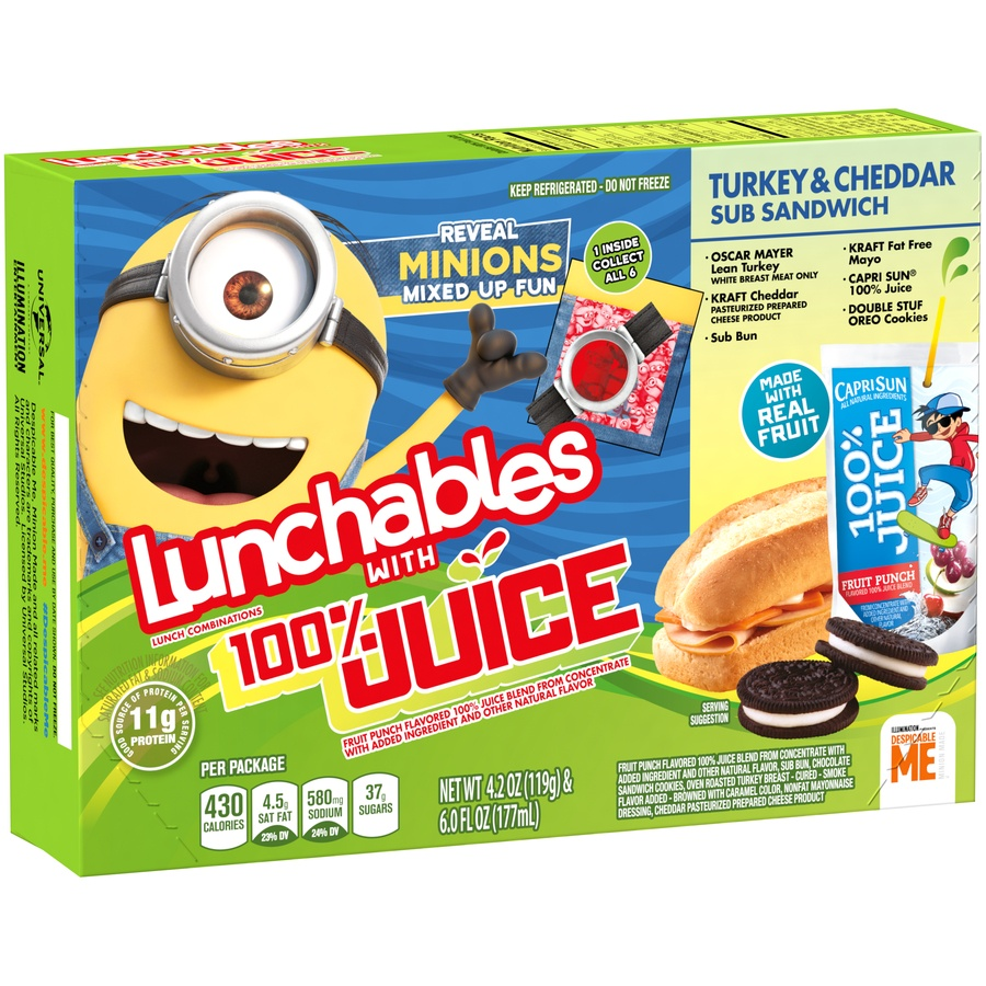 slide 3 of 8, Lunchables 100% Juice Turkey & Cheddar Sub Sandwich,